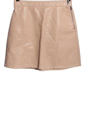 Zara Basic Spódnica z imitacji skóry kremowy W stylu casual