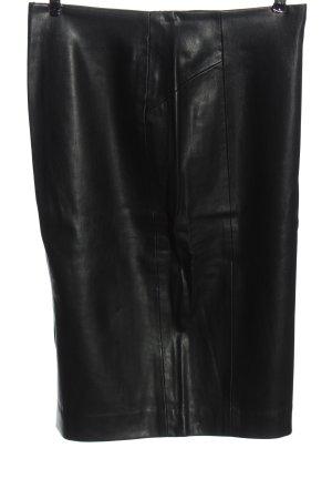Zara Basic Spódnica z imitacji skóry czarny Z połyskiem