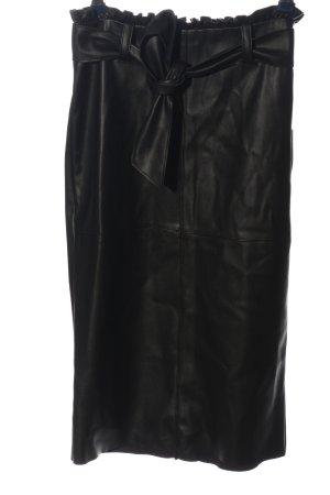 Zara Basic Rok van imitatieleder zwart casual uitstraling