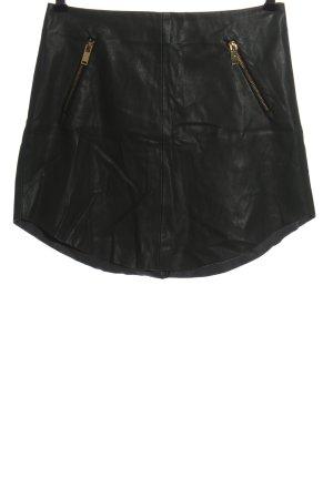 Zara Basic Spódnica z imitacji skóry czarny W stylu casual