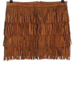 Zara Basic Rok van imitatieleder bruin casual uitstraling