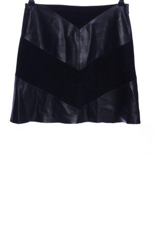Zara Basic Spódnica z imitacji skóry czarny Wzór w paski W stylu casual
