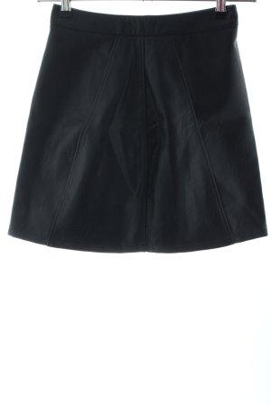 Zara Basic Spódnica z imitacji skóry ciemnoniebieski W stylu casual