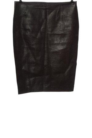 Zara Basic Spódnica z imitacji skóry czarny Zwierzęcy wzór