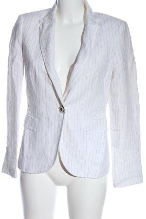 Zara Basic Kurz-Blazer weiß-schwarz Streifenmuster Casual-Look
