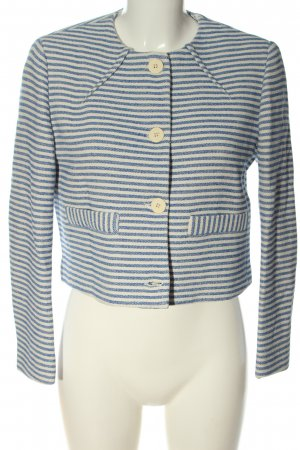 Zara Basic Kurz-Blazer blau-wollweiß Streifenmuster Casual-Look