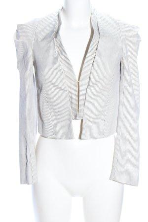Zara Basic Kurz-Blazer weiß-hellgrau Streifenmuster Casual-Look