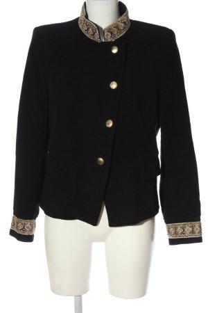 Zara Basic Kurz-Blazer schwarz-goldfarben grafisches Muster Casual-Look