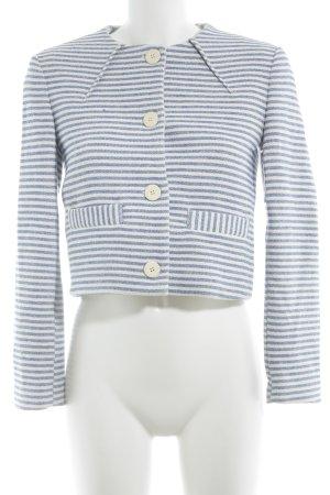 Zara Basic Kurz-Blazer weiß-blau Ringelmuster Casual-Look