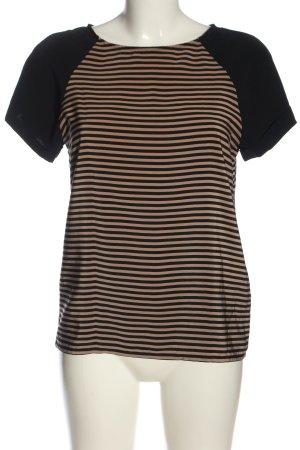 Zara Basic T-Shirt schwarz-nude Streifenmuster Casual-Look