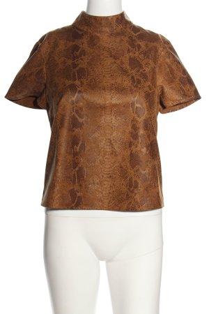 Zara Basic Kurzarm-Bluse braun Animalmuster extravaganter Stil
