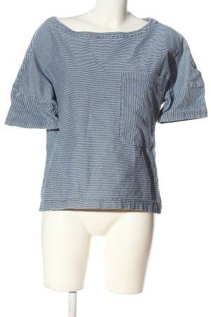 Zara Basic Kurzarm-Bluse blau-weiß Streifenmuster Casual-Look