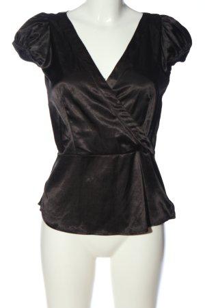 Zara Basic Kurzarm-Bluse schwarz Casual-Look