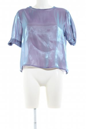 Zara Basic Kurzarm-Bluse lila-türkis Farbverlauf Casual-Look