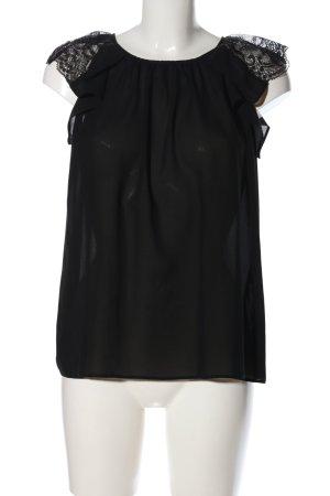 Zara Basic Kurzarm-Bluse schwarz Elegant
