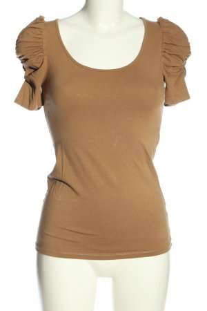Zara Basic Kurzarm-Bluse braun Casual-Look