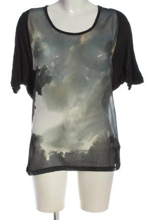 Zara Basic Kurzarm-Bluse schwarz-hellgrau Motivdruck Casual-Look