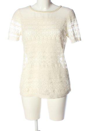 Zara Basic Kurzarm-Bluse wollweiß Webmuster Casual-Look