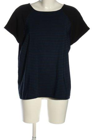 Zara Basic Kurzarm-Bluse blau-schwarz Streifenmuster Casual-Look