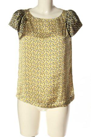 Zara Basic Kurzarm-Bluse blassgelb-weiß Allover-Druck Business-Look