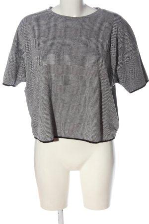 Zara Basic Cropped Shirt hellgrau-schwarz Karomuster Casual-Look