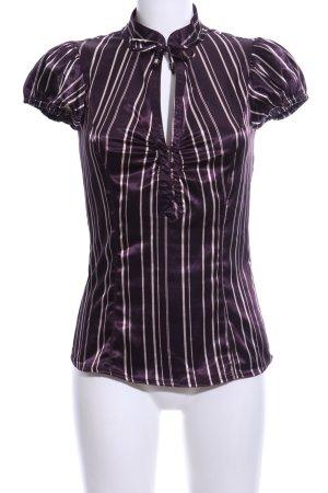 Zara Basic Kurzarm-Bluse lila-weiß Streifenmuster Casual-Look