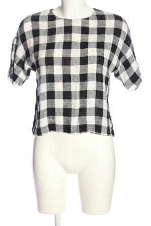 Zara Basic Kurzarm-Bluse schwarz-weiß Karomuster Casual-Look
