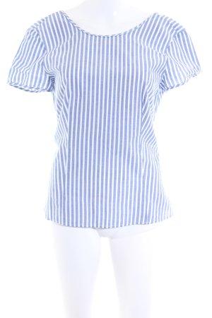 Zara Basic Kurzarm-Bluse blau-weiß Streifenmuster Business-Look