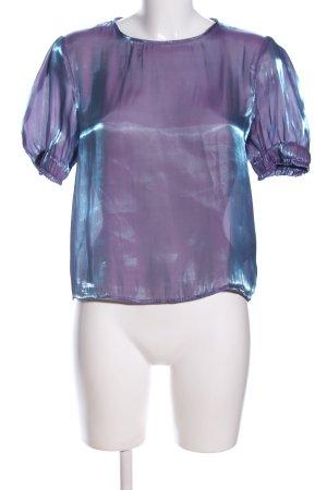 Zara Basic Kurzarm-Bluse lila-blau Elegant