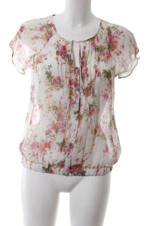 Zara Basic Kurzarm-Bluse Blumenmuster Casual-Look
