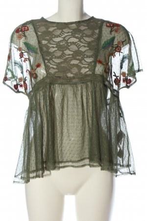 Zara Basic Kurzarm-Bluse khaki Casual-Look