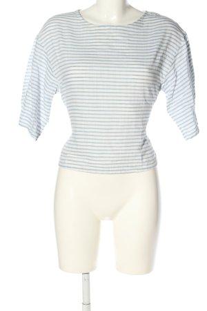 Zara Basic Kurzarm-Bluse weiß-blau Streifenmuster Casual-Look