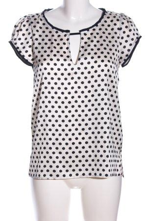 Zara Basic Kurzarm-Bluse weiß-schwarz Allover-Druck Casual-Look