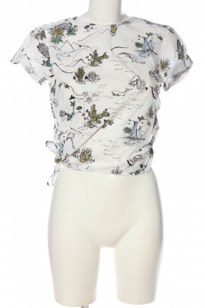 Zara Basic Kurzarm-Bluse abstraktes Muster Casual-Look