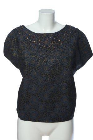 Zara Basic Kurzarm-Bluse blau Allover-Druck Business-Look