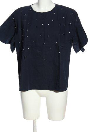 Zara Basic Kurzarm-Bluse blau Punktemuster Casual-Look