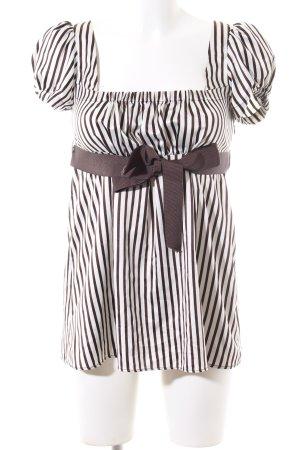 Zara Basic Kurzarm-Bluse braun-wollweiß Streifenmuster Casual-Look