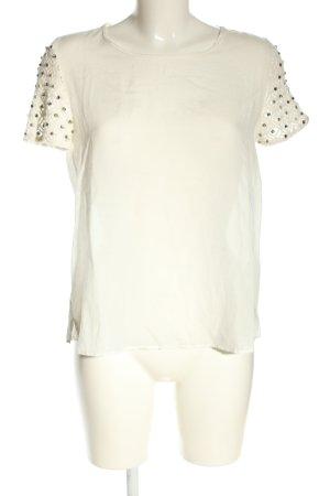 Zara Basic Kurzarm-Bluse weiß Punktemuster Casual-Look