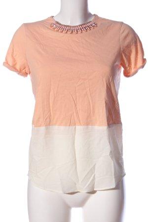 Zara Basic Kurzarm-Bluse nude-weiß Casual-Look