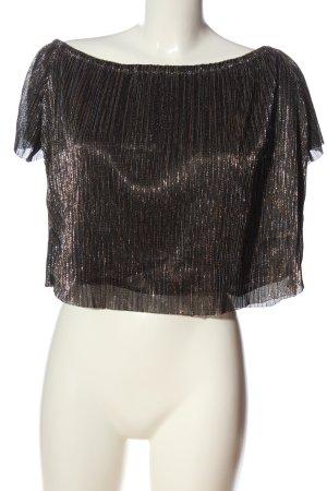 Zara Basic Kurzarm-Bluse schwarz-silberfarben Streifenmuster Casual-Look
