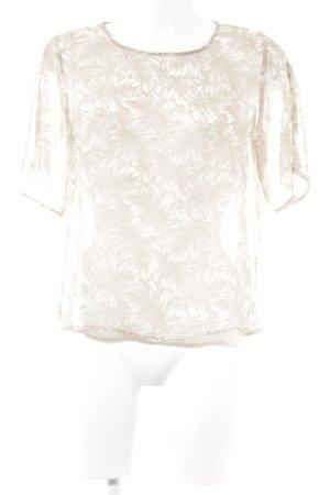Zara Basic Kurzarm-Bluse creme-altrosa Blumenmuster Casual-Look