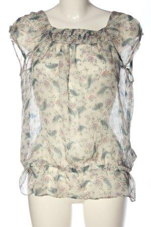 Zara Basic Kurzarm-Bluse creme Allover-Druck Casual-Look