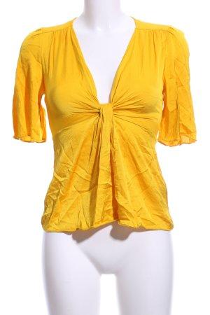 Zara Basic Kurzarm-Bluse dunkelgelb Elegant