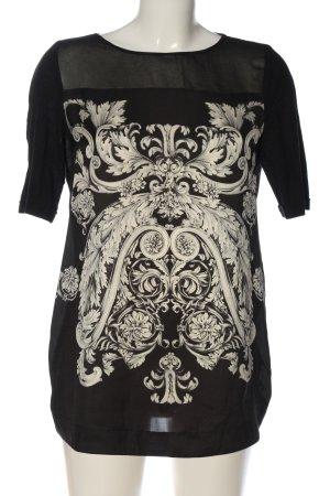 Zara Basic Kurzarm-Bluse schwarz-weiß Mustermix Casual-Look