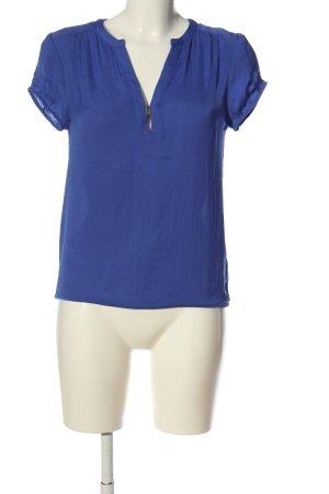 Zara Basic Kurzarm-Bluse blau Casual-Look