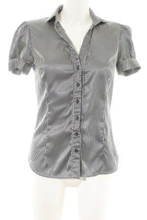 Zara Basic Kurzarm-Bluse schwarz-wollweiß Streifenmuster Casual-Look