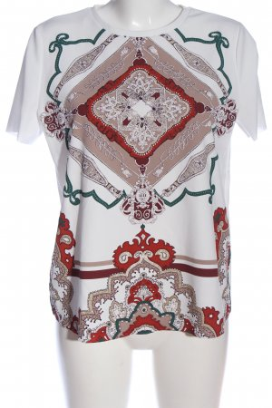 Zara Basic Kurzarm-Bluse weiß-rot abstraktes Muster Casual-Look