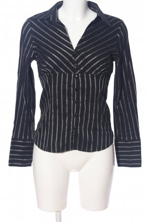 Zara Basic Langarm-Bluse schwarz Streifenmuster Casual-Look