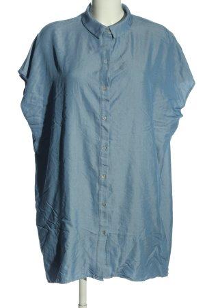 Zara Basic Kurzarmhemd blau Business-Look