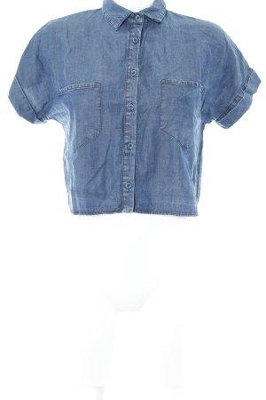 Zara Basic Kurzarmhemd stahlblau Casual-Look